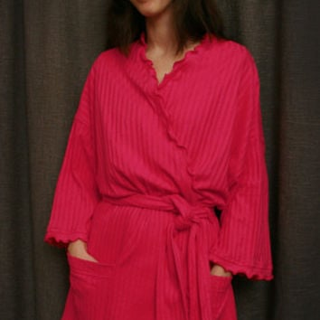 Hot Pink Short Wrap Robe Cotton Dot, Made In The USA,   Simple Pleasures, Inc.