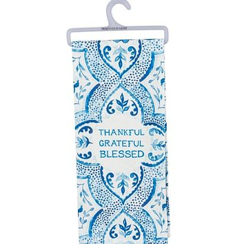 Thankful Grateful Blessed Bright Blue Dish Cloth Towel / Novelty Tea Towels / Cute Farmhouse Kitchen Hand Towel