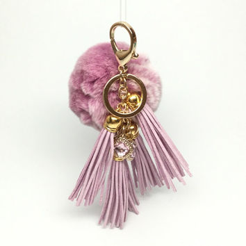"Fur Pom Pom ""Lilac Queen"" charm ball pompon bag charm tassel keychain in lilac with tassel elements charms"
