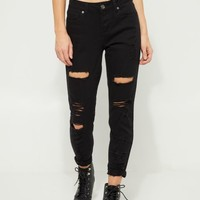 Black High Rise Destroyed Cuff Jeggings