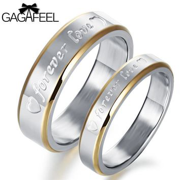 GAGAFEEL Couple Lover's Ring 316L Stainless Steel Rings For Men With Letter forever love Heart Wedding Jewelry Dropship