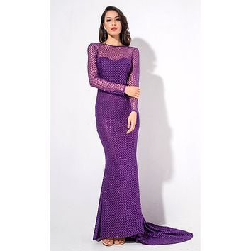 Special Moments Purple Glitter Geometric Pattern Long Sleeve Sheer Boat Neck Fish Tail Mermaid Maxi Dress