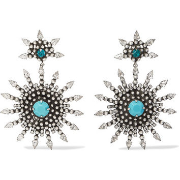 DANNIJO - Delano oxidized silver-plated, Swarovski crystal and turquoise earrings