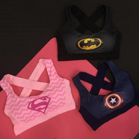 Women Quick Dry Fashion Bra with Padded Tops Vest Wireless Hollow Out Superhero Superman/Batman/Captain America Tank Tops
