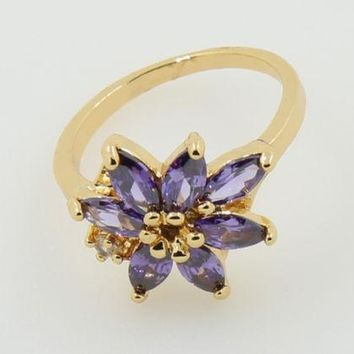 Purple Flower Fashion Ring