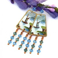 Boat Lake Vintage Tea Tin Earrings, Swarovski Chandelier Jewelry Gift