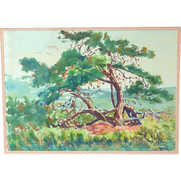 James D. Havens / Watercolor Plein Air / Cape Cod Massachusetts / 1950's Art / Landscape Watercolor / Artist Havens
