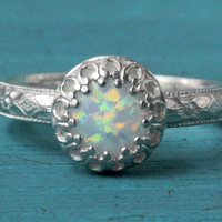 Opal ring sterling silver white lab opal in 8 mm princess crown setting, floral diamond pattern, wedding October birthday bridesmaid gift