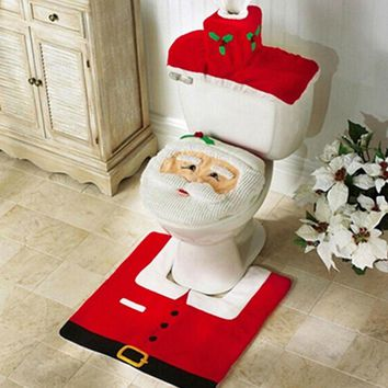 3Pcs Christmas Decorations For Home Santa Claus Toilet Seat Cover Rug Bathroom and Contour Rug Christmas Ornament New Year Natal