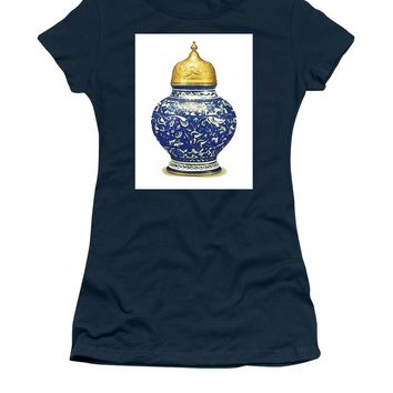 An Ottoman Iznik Style Floral Design Pottery Polychrome, By Adam Asar, No 9a - Women's T-Shirt (Athletic Fit)