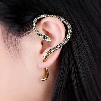 SUSENSTONE Excellent Gothic Punk Snake Wind Temptation Silver Ear Stud Cuff Earring