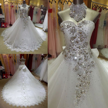 Sexy Luxury wedding dress Lace Wedding Dresses backless 2015 with Beading robe de marriage casamento new dresses crystal