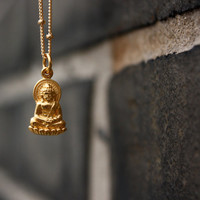 Gold Buddha Necklace: Little Buddha Charm . 24K Gold . Yoga Jewelry . Hand-Stamped Gift Box Included