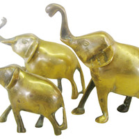One Kings Lane - Elephants in the Room - Brass Elephants, S/3