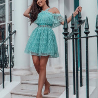 'Troian' Flirty Lace Mini Dress - Blue