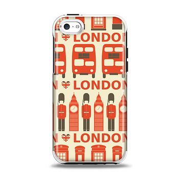 The Vector Tan and Red London Apple iPhone 5c Otterbox Symmetry Case Skin Set