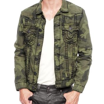 True Religion Jimmy Olive Green Super T Camo Mens Jacket - Fort Morgan