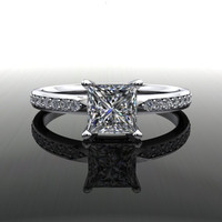 Forever Brilliant Moissanite and Diamonds Princess Cut Engagement Ring 1.20 CTW