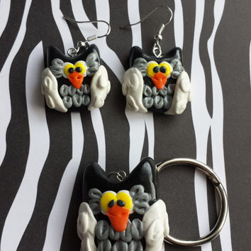 Owl,Owls,Earring,Night owl,Night,Clay,Black Owl,Rainbow,Keychain,pendant,Necklace,Jewelry