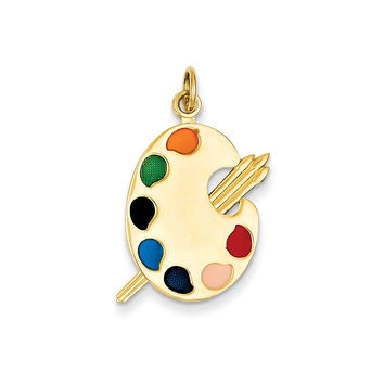14k Yellow Gold Multiple Colored Enamel Polished Artist Palette Charm Pendant - 26mm