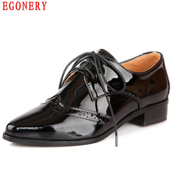 EGONERY Neutral Style Casual Low Heels Pointed Toe Lace Up Patent Leather Women Shoes Ankle Cut-out Oxfords Plus Size