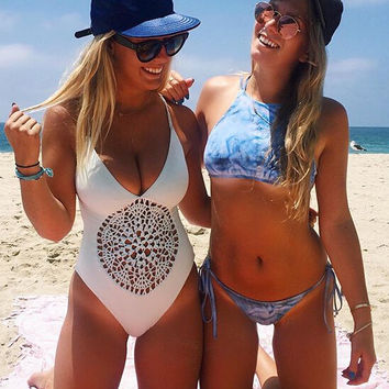 HOT ONE PIECE LACE HOLLOW OUT BACK KNOT BIKINIS