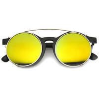 Oversize Round Flash Mirrored Clip On Lens Sunglasses 9793