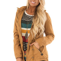 Camel Hooded Cargo Jacket with Removable Hood
