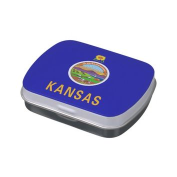 Patriotic candy tins with Flag of Kansas