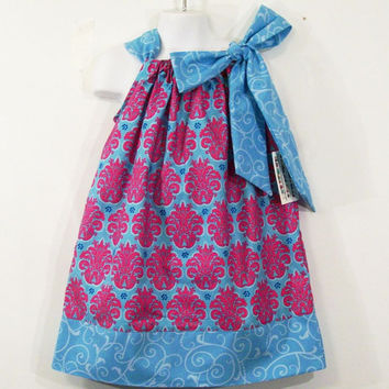 Girls Pillowcase Dress-Pink on blue-Made in the USA-baby-Toddler-Big Girl