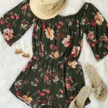 Take Action Olive Floral Romper
