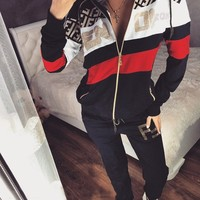FENDI Fashion Women High Collar Long Sleeve Top Pants Two-Piece Sportswear
