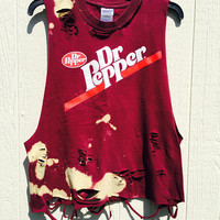 Grunge, super soft Dr Pepper , bleached, distressed novelty tee size large