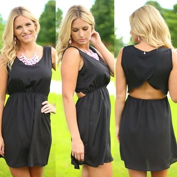 Scalloped So Sweetly Dress in Black