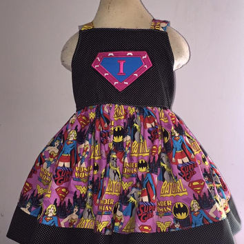 Super Hero Inital Knot Applique Dress