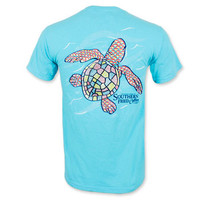 Southern Fried Cotton Baby Sea Turtle Pocket T-Shirt - Lagoon Blue