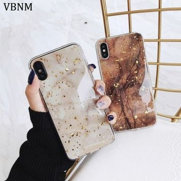 Luxury Gold Foil Bling Marble Phone Cases For iPhone X 10 Cover Soft TPU Cover For iPhone 7 8 6 6s Plus Glitter Case Coque Funda