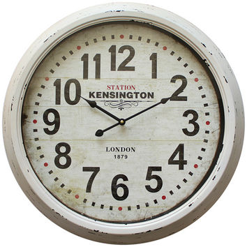 Yosemite Home Decor CLKA1A100NE White Indoor 24-Inch Wall Clock with Distressed Iron Frame