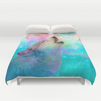 Breathing Dreams Like Air (Wolf Howl Abstract) Duvet Cover by soaring anchor designs ⚓ | Society6