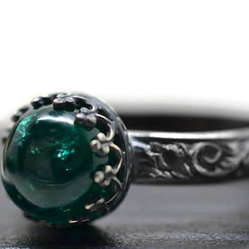 Emerald Ring, Gemstone Engagement Ring, Floral Renaissance Ring, Oxidized Silver Ring, May Birthstone Ring