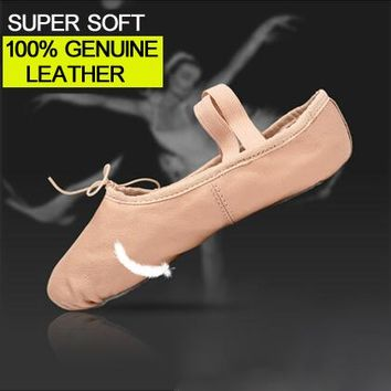 Professional Ballet Slippers Genuine Leather Soft Ballet Dance Shoes Optional Soles For Girls Child And Women Dancing Shoes