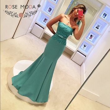 Stunning Strapless Blue Mermaid Evening Dress with Bow Lace Appliqued V Back Formal Party Dress for Wedding Custom Made