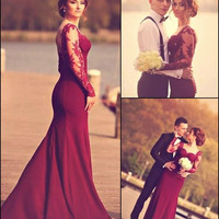 Prom Dresses 2016 Mermaid party dress with See Through Long Sleeves Sweetheart Lace Appliques Floor Length Low Back Dresses