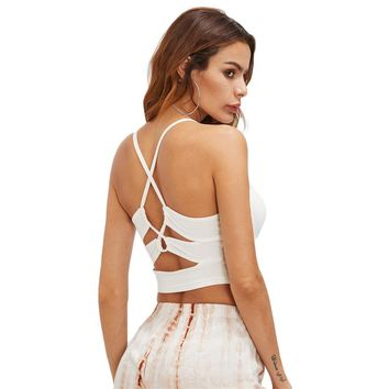 Women's Criss Cross Back Crop Tank Top