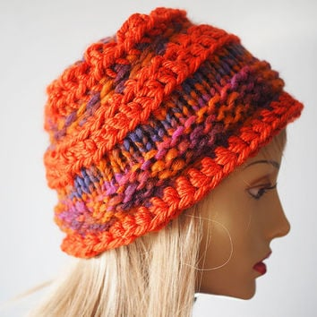 Ready to ship - Orange hat - Chunky knit hat - Rust crochet beanie - Fashion knit hat - Woman knit hat - Teen girl hat - Beehive cloche
