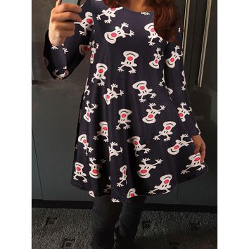 Womens Xmas Christmas Printed Party Flared Swing Dress