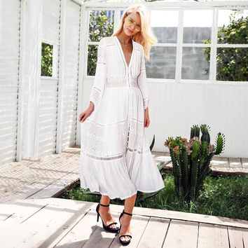 Simplee Hollow out white lace dress women V neck button casual dress long Sexy summer beach dress female vestidos