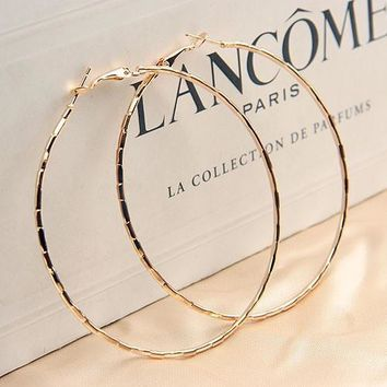 Simple Gold Plated Big Hoop Earring For Women Statement Fashion Jewelry Accessories Large Circle Round Loop Earrings