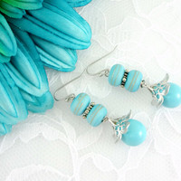 Baby blue lampwork dangle earrings, Flower earrings, Lampwork Earrings, Light blue earrings