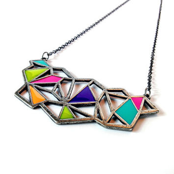 Colorful Geometric Bib Necklace on Black Plated Chain, Colorful, Fun, Statement Piece, Large Bib Necklace, Enamel Colored Necklace